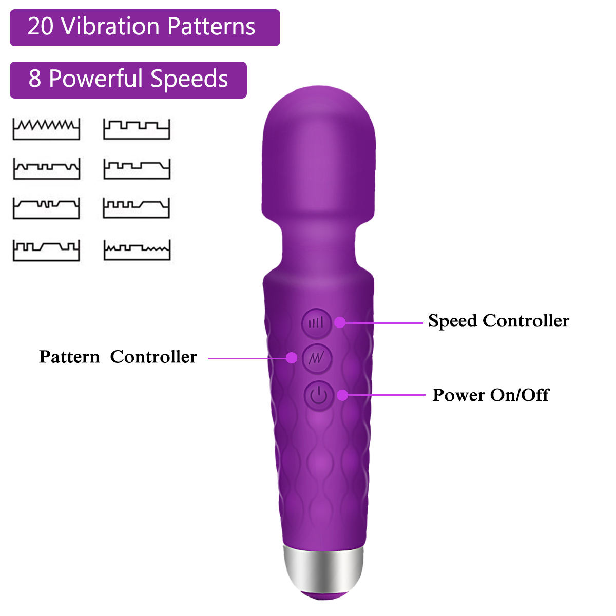 PALOQUETH Wand Vibrator With 20 Powerful Vibration Modes for Intense Frequent Orgasms
